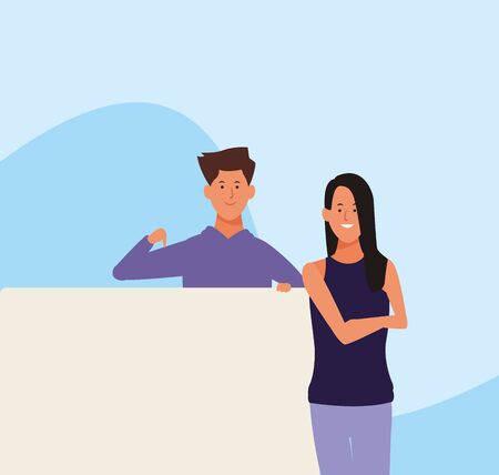 cartoon woman and man with blank placards over blue background, colorful design. vector illustration Ilustração