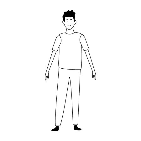 cartoon happy man wearing casual clothes over white background, vector illustration