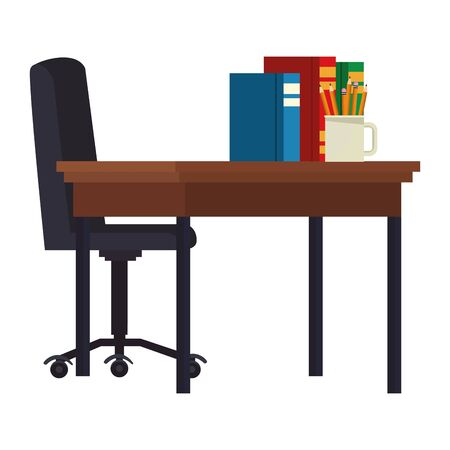 Study room chair and desk with books and pencils ,vector illustration graphic design.