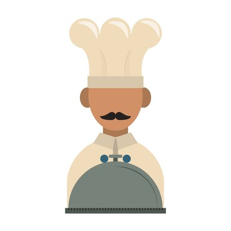 restaurant food and cuisine chef avatar with food tray icon cartoons vector illustration graphic design Ilustrace