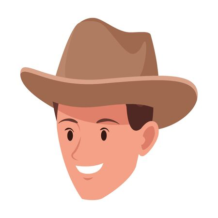 man face with hat avatar cartoon character vector illustration graphic design