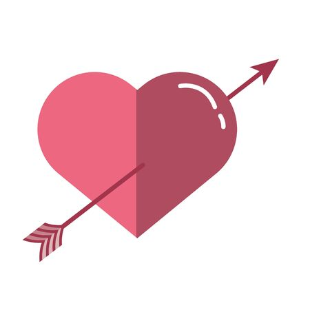 happy valentines day heart with arrow vector illustration design Illustration