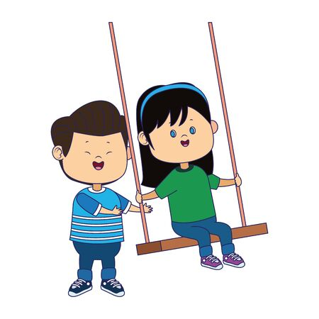 happy girl in a swing and boy over white background, vector illustration