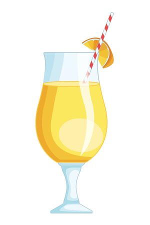 Delicious and natural orange juice with fruit vector illustration graphic design Ilustração