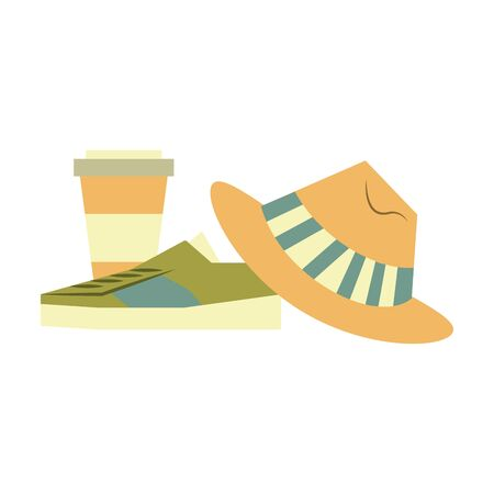 accessories for tourism and vacations with sneakers coffee cup and hat isolated symbol Vector design illustration Ilustrace