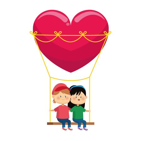 happy boy and girl in hearts swing over white background, colorful design, vector illustration