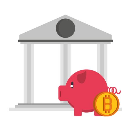 Bitcoin cryptocurrency piggy bank and building symbols vector illustration graphic design