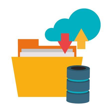 Cloud computing technology folder and database symbols vector illustration graphic design