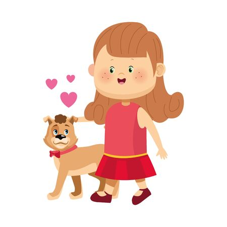 cartoon happy girl walking with cute dog over white background, vector illustration