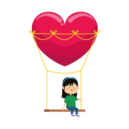 happy girl on swing with heart shape over white background, colorful design, vector illustration