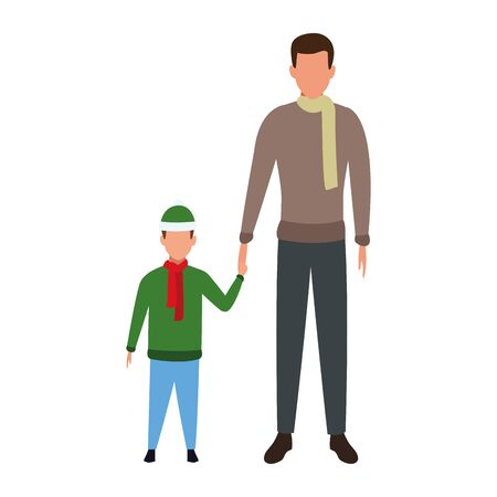 avatar man with a kid with winter clothes over white background, vector illustration