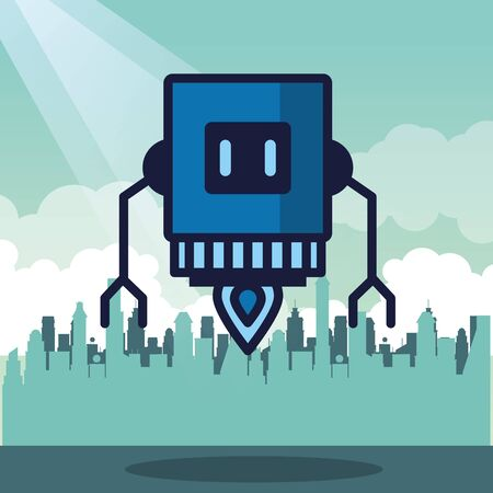 robot floating technology isolated icon vector illustration design