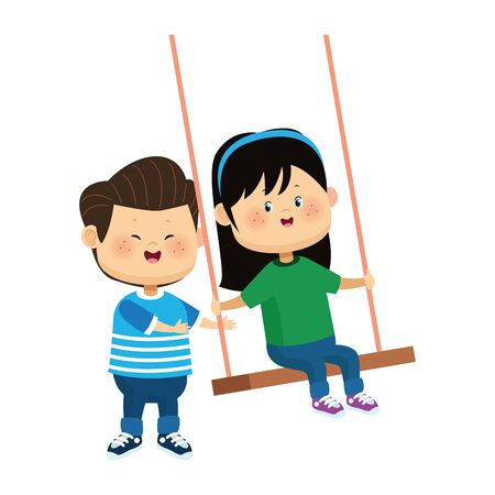 happy girl in a swing and boy over white background, colorful design, vector illustration