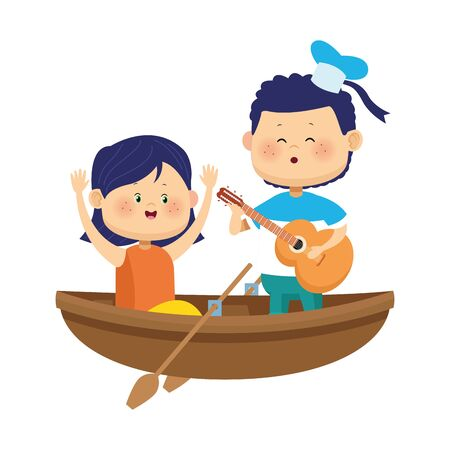 happy girl and boy singing in wooden canoe over white background, colorful design, vector illustration