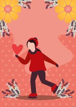 young woman with winter clothes and love season vector illustration design