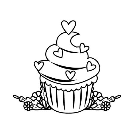 delicious sweet cupcake with hearts vector illustration design