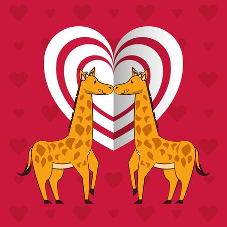 happy valentines day card with cute giraffes couple vector illustration design