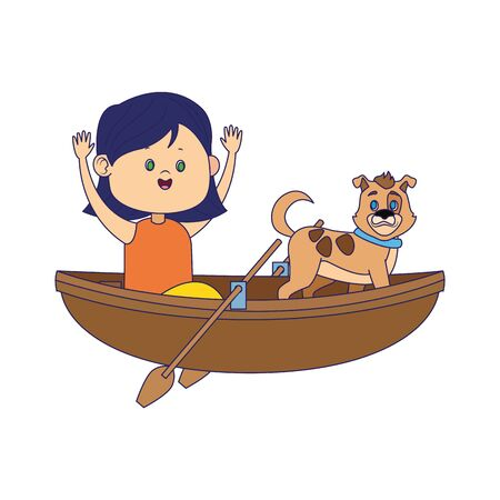 wooden canoe with cartoon happy girl and dog over white background, colorful design, vector illustration Illustration