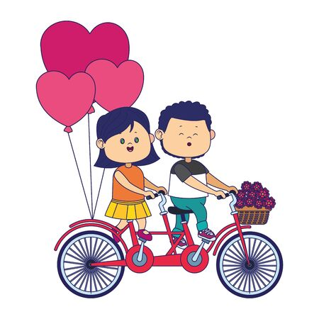 happy couple riding a double bike with hearts balloons over white background, vector illustration