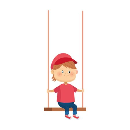 cartoon boy in a swing over white background, colorful design, vector illustration