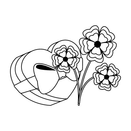 chocolate heart box and beautiful flowers over white background, vector illustration Ilustração
