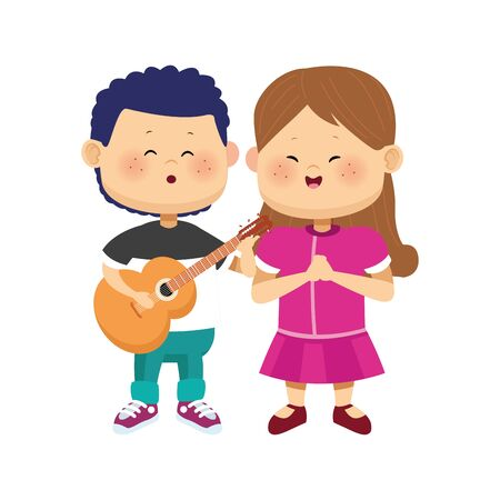 cute boy and girl standing with guitar over white background, colorful design, vector illustration