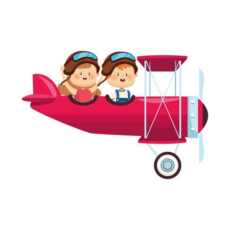 light aircraft with happy girl and boy over white background, colorful design, vector illustration