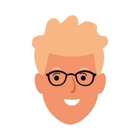 man with glasses cartoon icon over white background, vector illustration