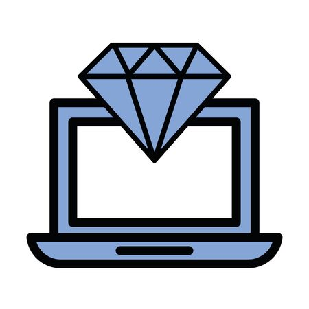 diamond luxury stone in laptop computer vector illustration design Ilustrace