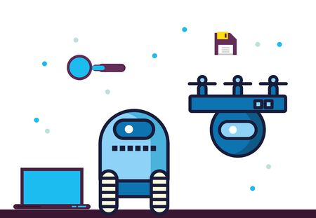 couple of robots technology with data center icons vector illustration