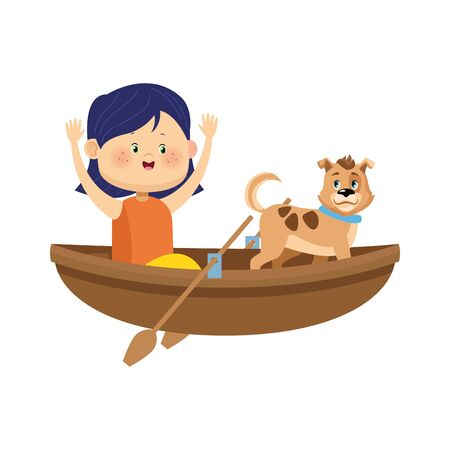 wooden canoe with cartoon happy girl and dog over white background, vector illustration
