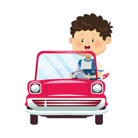 cute boy in classic car over white background, colorful design, vector illustration Иллюстрация