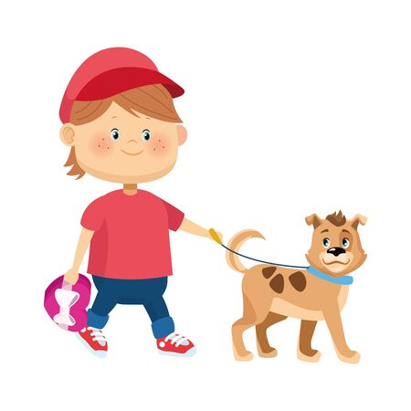 cartoon happy boy walking with cute dog over white background, colorful design, vector illustration