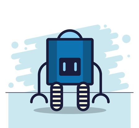 robot with wheel technology icon vector illustration design