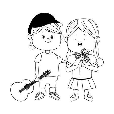 cute boy and girl with guitar and flowers over white background, flat design, vector illustration