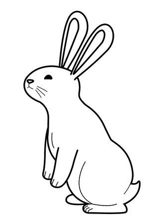 Lapin mignon debout dessin animé animal de compagnie, conception graphique d'illustration vectorielle. Vecteurs
