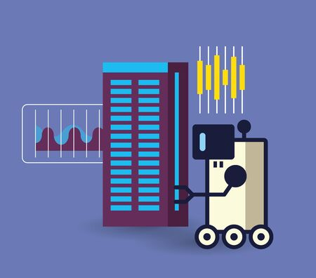 robotic hand with wheels and data center icons vector illustration design Illusztráció