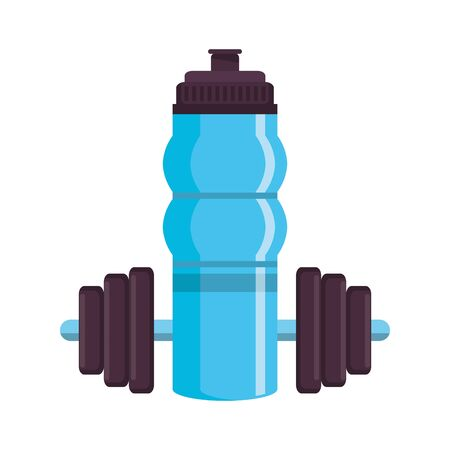 fitness equipment workout health and weights water flask isolated symbols vector illustration graphic design Ilustrace