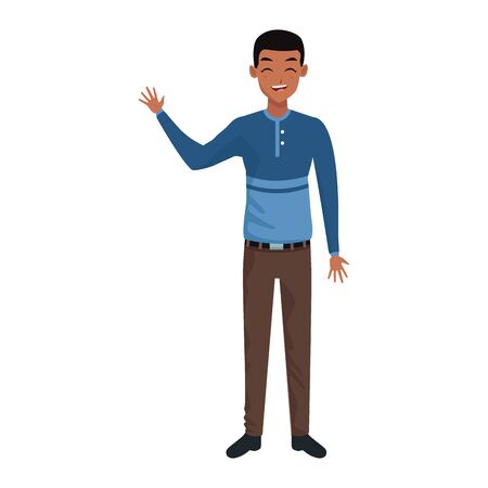 cartoon young man standing wearing casual clothes icon over white background, colorful design. vector illustration