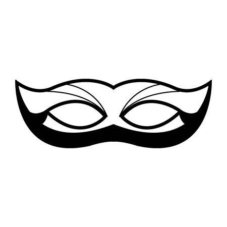 Design of mardi gras mask icon over white background, black and white design. vector illustration
