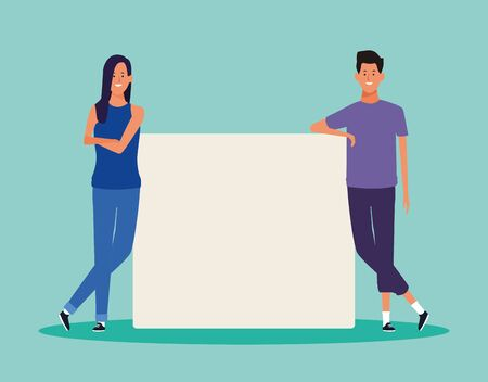 cartoon woman and man with blank poster over turquoise background, colorful design. vector illustration
