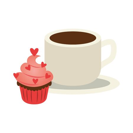 delicious sweet cupcake with hearts and coffee vector illustration design