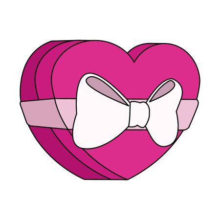chocolate box in heart shape icon over white background, colorful design, vector illustration Ilustração