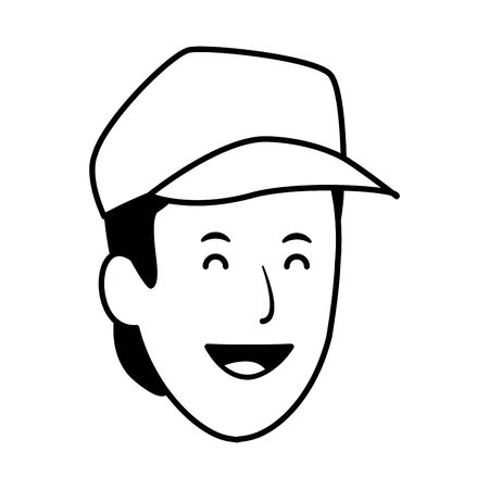 Cartoon man smiling and wearing cap icon over white background, vector illustration Illustration