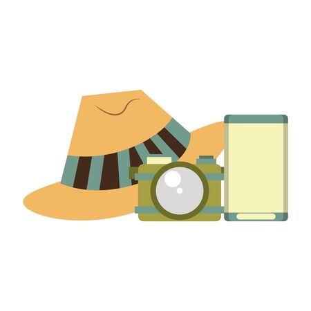 accessories for summer days symbols with hat camera and music player isolated Vector design illustration