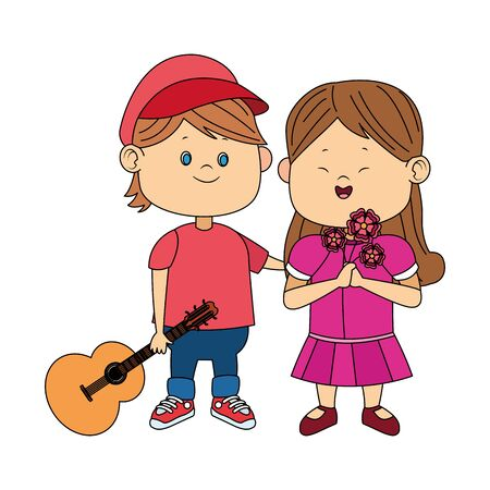 cute boy and girl with guitar and flowers over white background, vector illustration