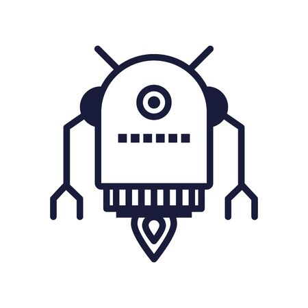 robot floating cyborg isolated icon vector illustration design