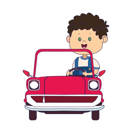 cute boy in classic car over white background, vector illustration