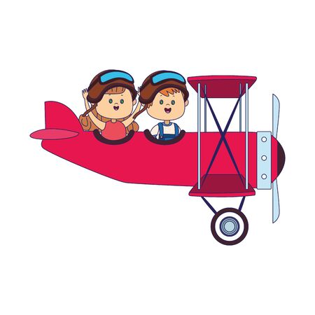 light aircraft with happy girl and boy over white background, vector illustration