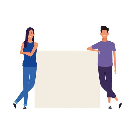 cartoon man and woman with blank poster over white background, vector illustration